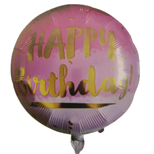 Happy Birthday, pink-rózsaszín, fólia lufi, 18