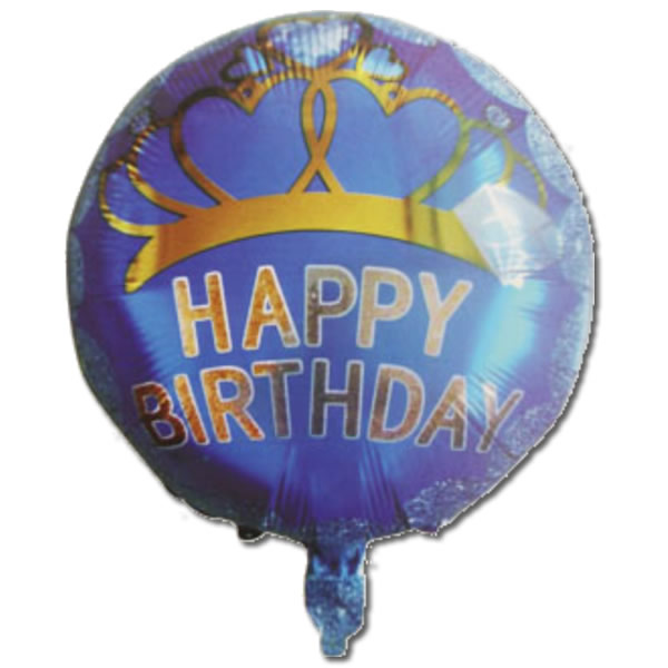 Happy Birthday, diadém, kék, fólia lufi, 18