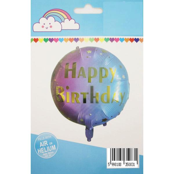 Happy Birthday, lila-kék színátmenetes,  fólia lufi, 18