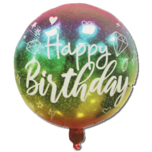 Happy Birthday, zöld-arany színátmenetes, fólia lufi, 18