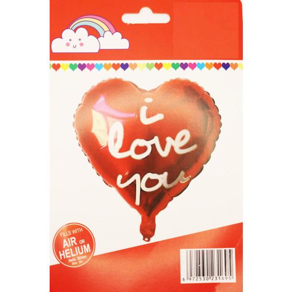 I Love You, szív, piros, Fólia lufi, 18