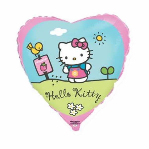 Fólia lufi, Hello Kitty, rózsaszín, szív forma, postaláda, kb. 45 cm