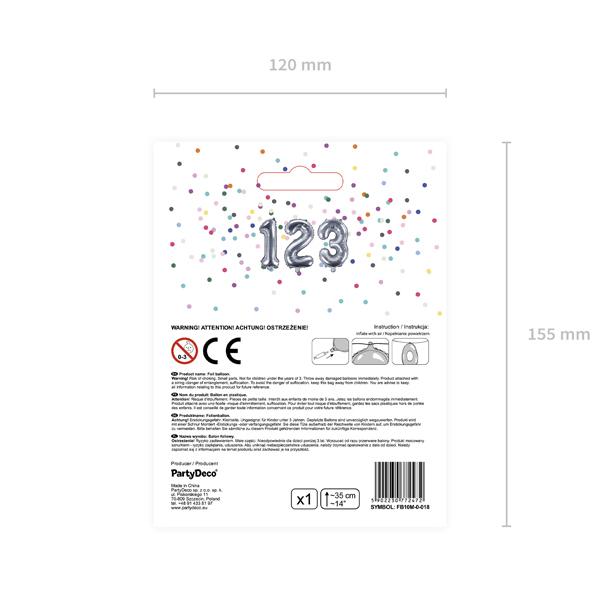 0. szám, fólia lufi, 35 cm, ezüst
