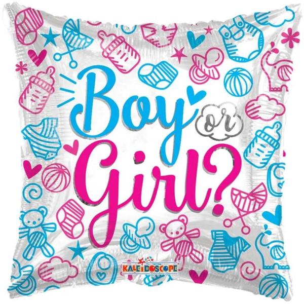 Babváró fólia léggömb, Boy or Girl?, párna 46 cm