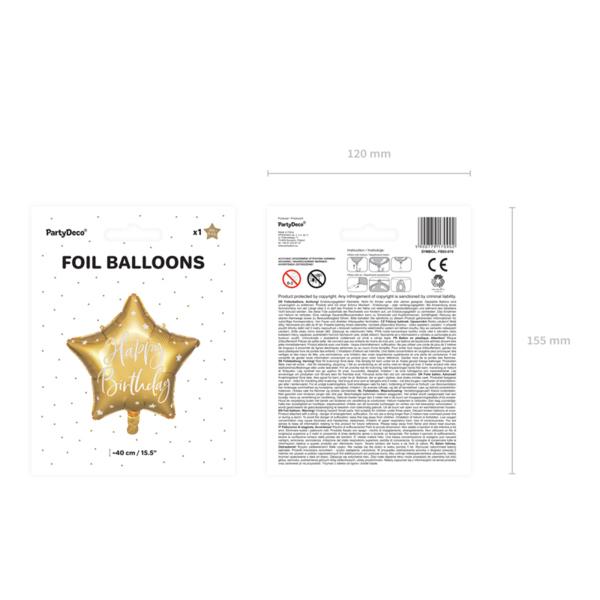 Fólia lufi, csillag alakú, arany, 40cm,  Happy Birthday felirattal