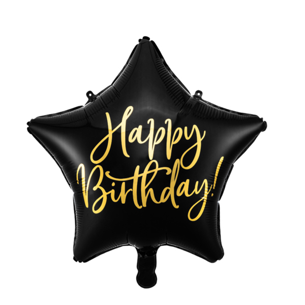 Fólia lufi, csillag alakú, fekete 40cm,  Happy Birthday felirattal