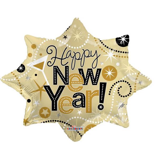 Happy New Year, ünnepi motívumokkal, fólia lufi 71cm