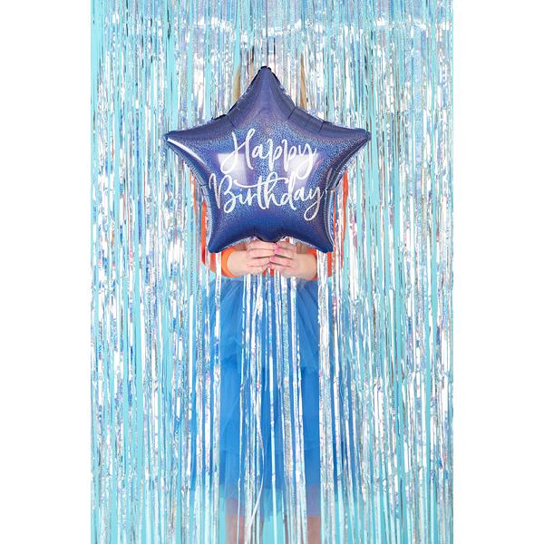 Fólia lufi, csillag alakú, kék-gyöngyház , 40cm,  Happy Birthday felirattal