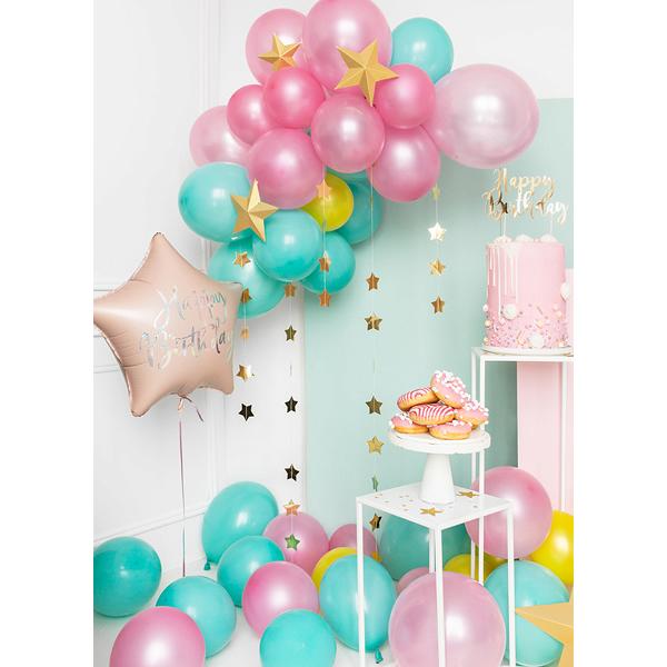 Fólia lufi, csillag alakú, púder pink , 40cm,  Happy Birthday felirattal