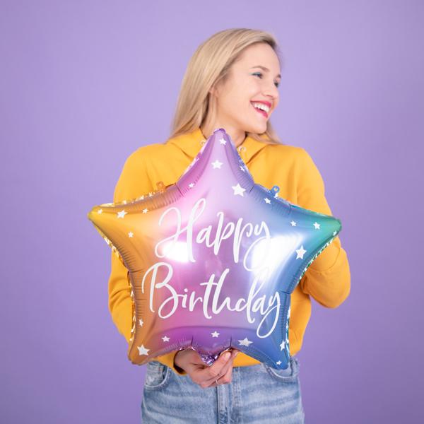 Fólia lufi, csillag alakú, mix, 40cm,  Happy Birthday felirattal
