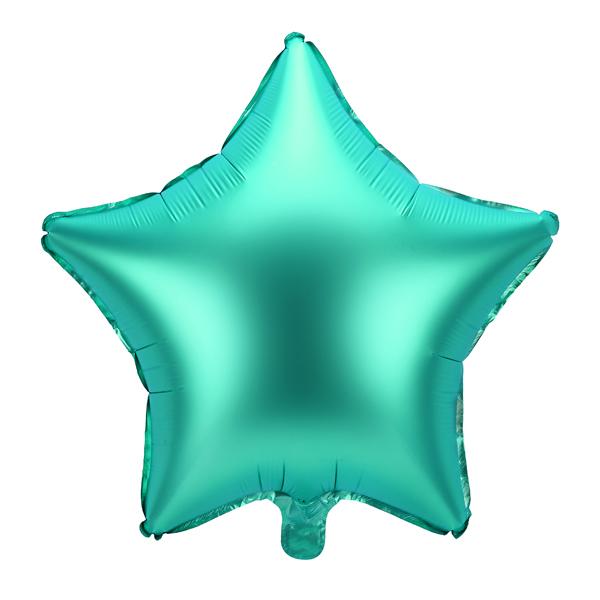 Csillag alakú  zöld fólia lufi, 19