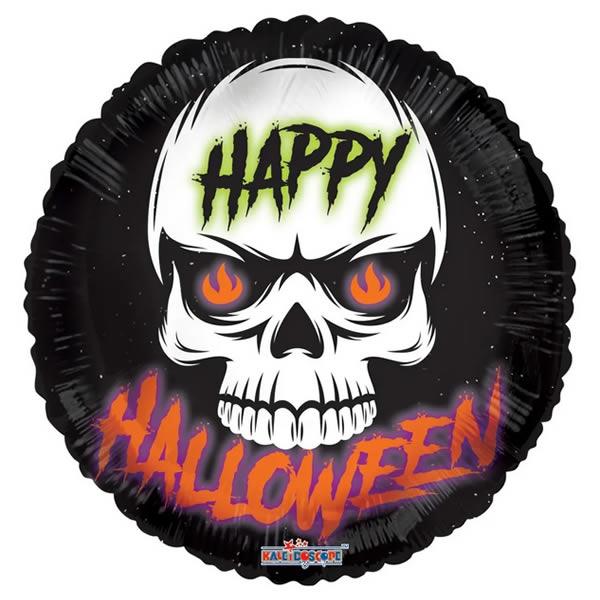 Happy Halloween gömb alakú fólia léggömb, koponyás,  45 cm