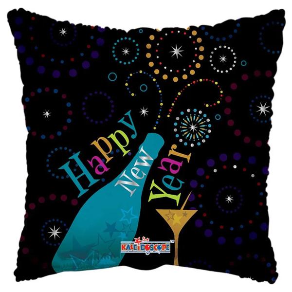 Szilveszteri - Happy New Year feliratú  párna alakú fólia Lufi, 45 cm