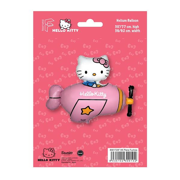 Fólia lufi, Hello Kitty repülőben, nagyforma, fuxia, csomagolt