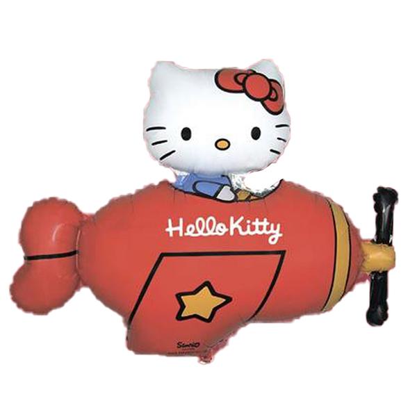 Fólia lufi, Hello Kitty repülőben, nagyforma, piros, csomagolt