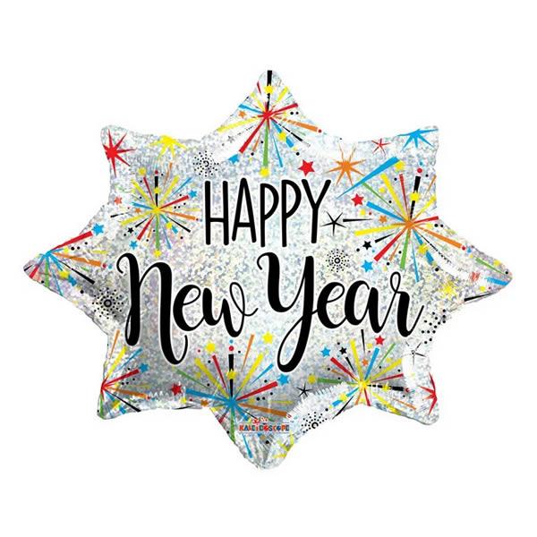 Happy New Year, tűzijáték motívumokkal, fólia lufi 45cm