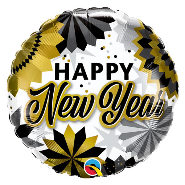 Happy New Year, RND, fólia lufi 45cm