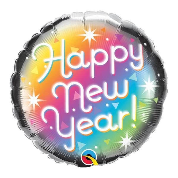 Happy New Year, prizma, fólia lufi 45cm