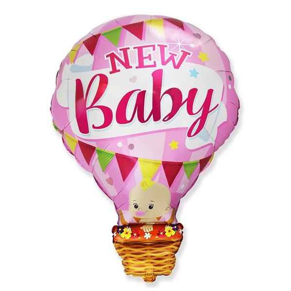 Fólia lufi,  nagyforma, léggömb alakú, pink, New Baby