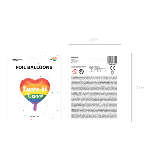Fólia lufi, 35cm, szív alakú, Love is Love