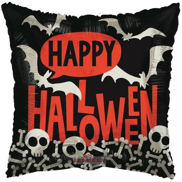 Happy Halloween párna alakú fólia léggömb,  45 cm