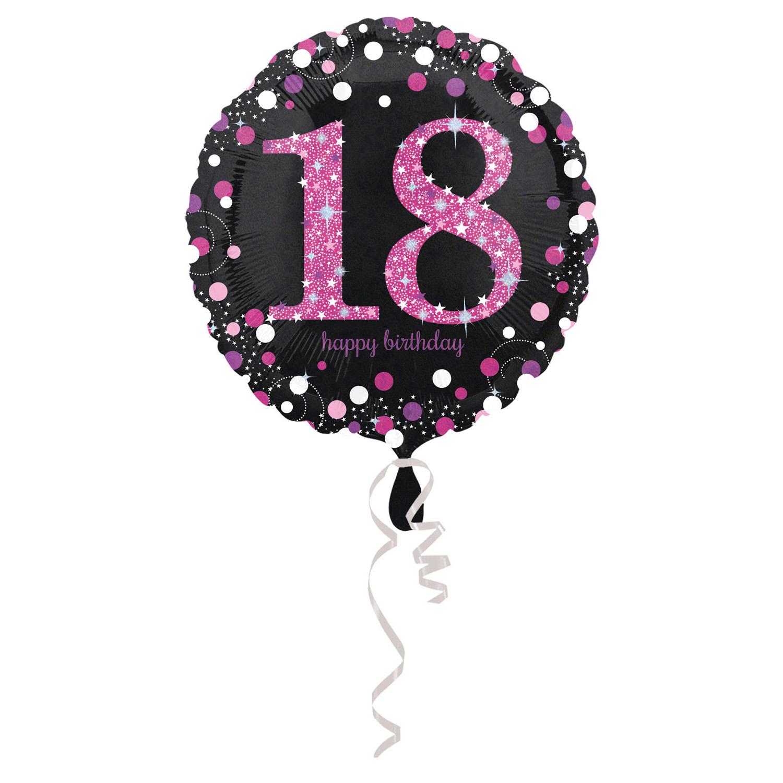 18. évszámos fólia lufi, gömb, HB, fekete-pink
