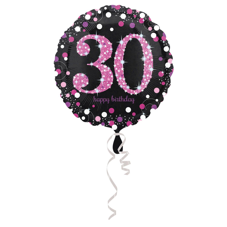 30. évszámos fólia lufi, gömb, HB, fekete-pink