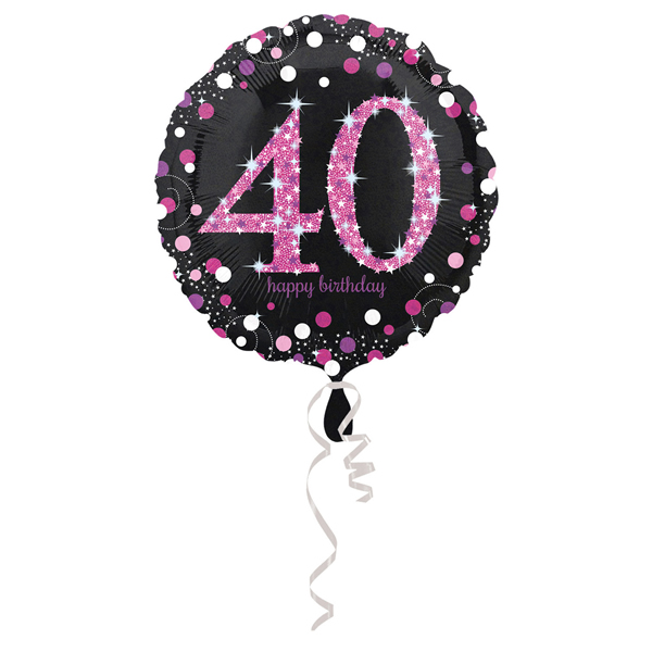 40. évszámos fólia lufi, gömb, HB, fekete-pink