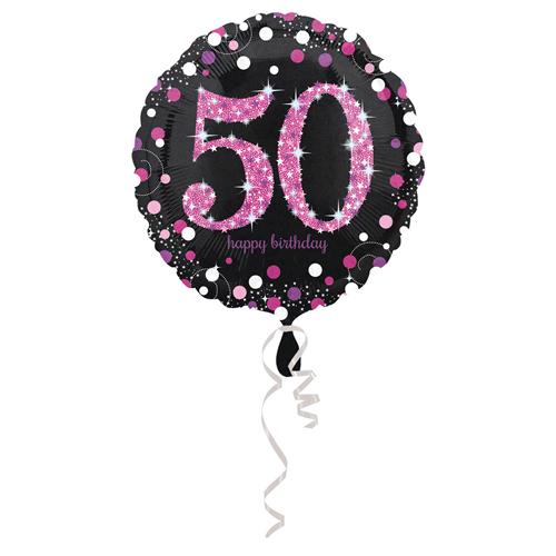 50. évszámos fólia lufi, gömb, HB, fekete-pink