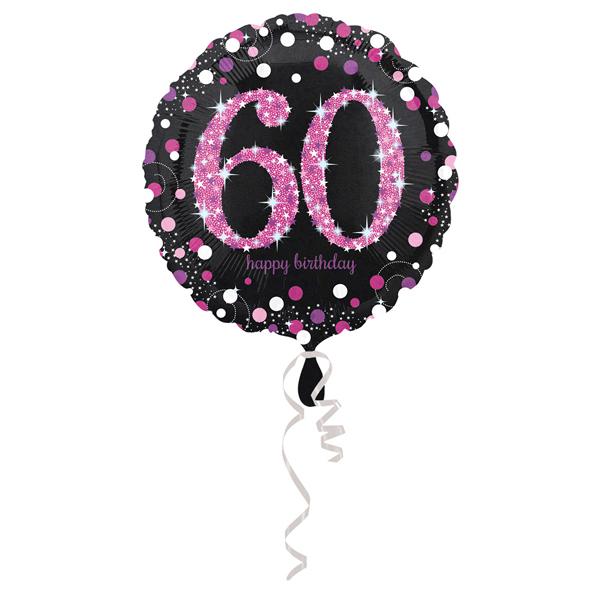 60. évszámos fólia lufi, gömb, HB, fekete-pink