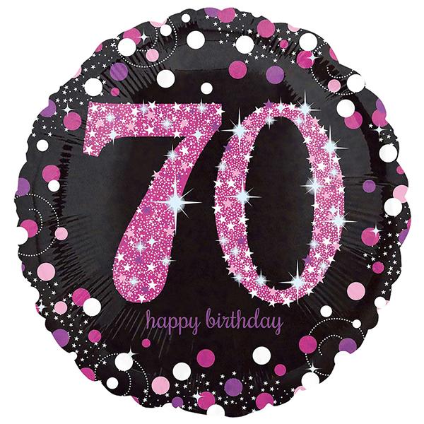 70. évszámos fólia lufi, gömb, HB, fekete-pink