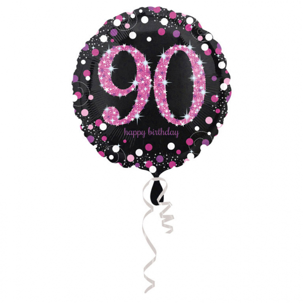 90. évszámos fólia lufi, gömb, HB, fekete-pink