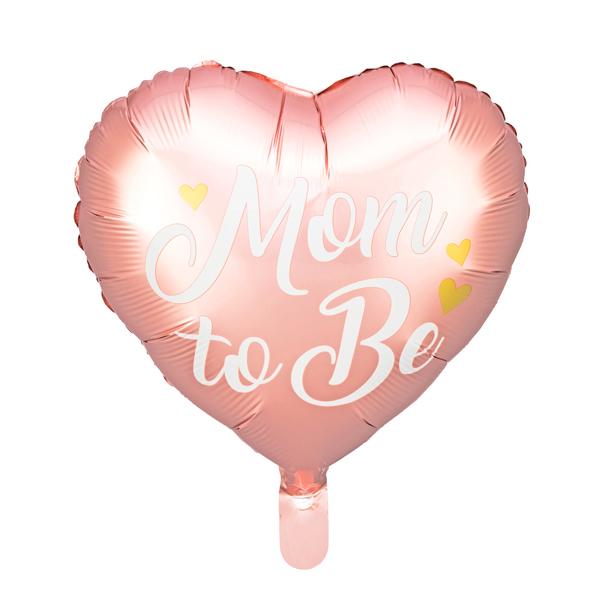 Fólia lufi, 35cm, szív alakú, rózsaszín, Mom to Be