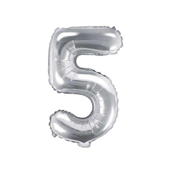 5. szám, fólia lufi, 35 cm, ezüst