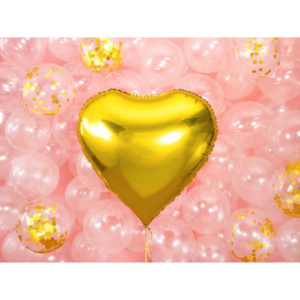 Fólia lufi, 61cm, szív, arany