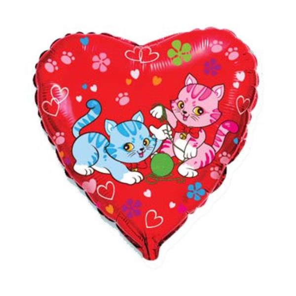 Fólia lufi, szív, piros, cicák, kb 45 cm