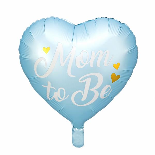 Fólia lufi, 35cm, szív alakú, kék, Mom to Be