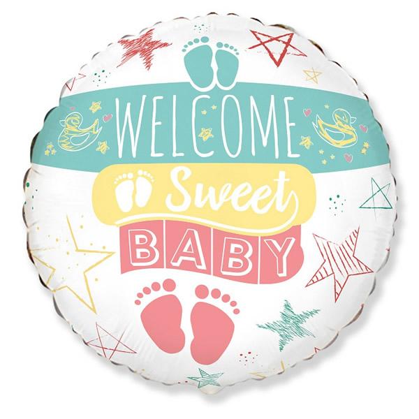 Fólia léggömb, Welcome sweet baby felirattal, 18