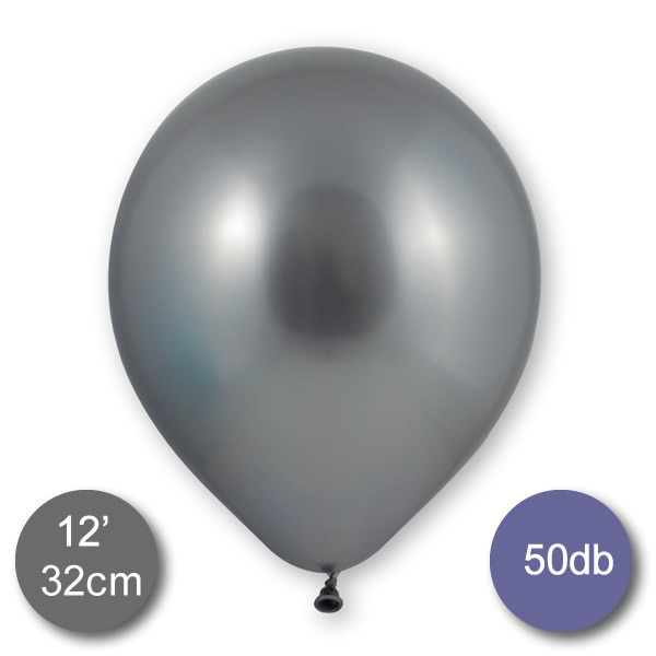 Króm (tükör) lufi, ezüst színben, 50db/cs