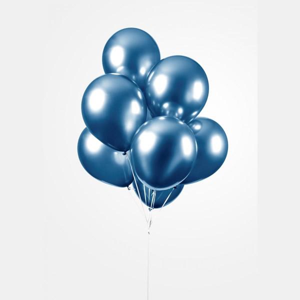 Króm (tükör) lufi, kék színben, 50db/cs