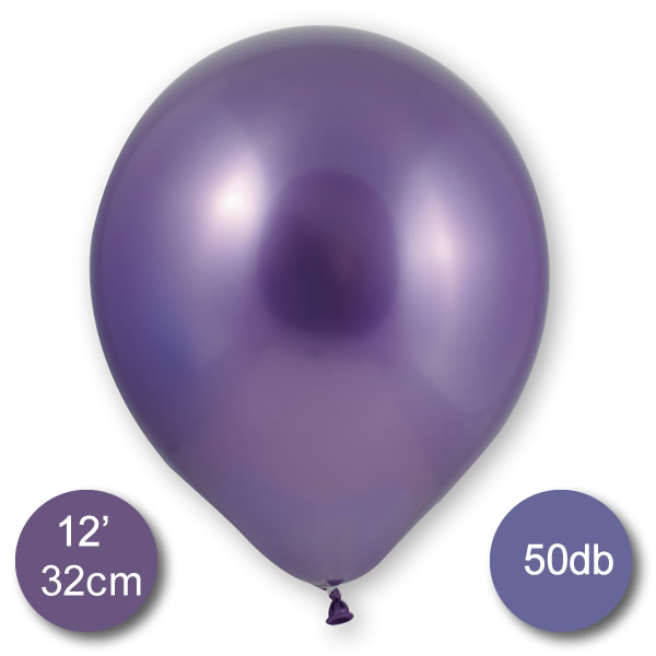 Króm (tükör) lufi, lila színben, 50db/cs