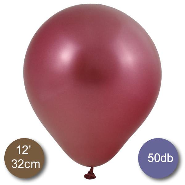 Króm (tükör) lufi, piros színben, 50db/cs