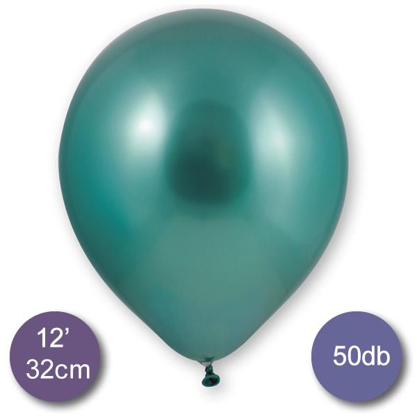 Króm (tükör) lufi, zöld színben, 50db/cs