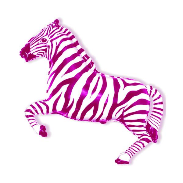 Zebra rózsaszín, fólia lufi,  mini forma, kb. 30-35cm