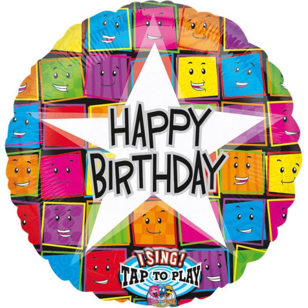 Fólia lufi, zenélő, Happy Birthday színes arcok, 71 cm