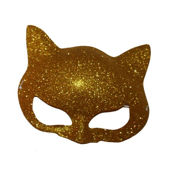 Cica szemálarc, glitteres, műanyag, arany