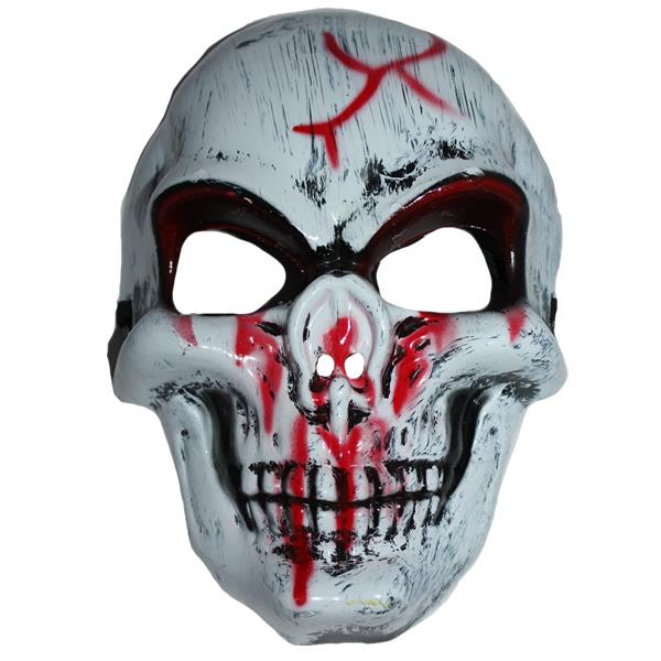 Festett koponya álarc, piros repesz, műanyag