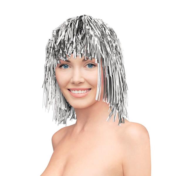 Fényes lametta paróka, ezüst színben