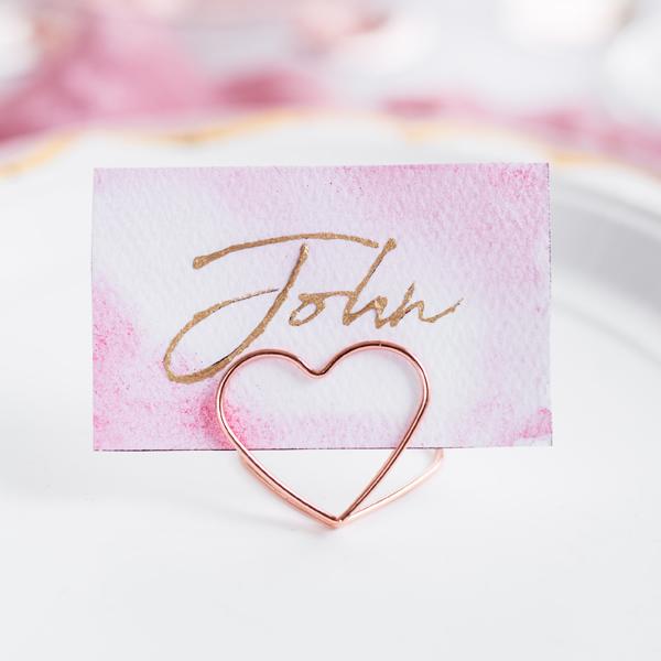 Ültetőkártya tartó, szív, 2,5 cm, pezsgő színű