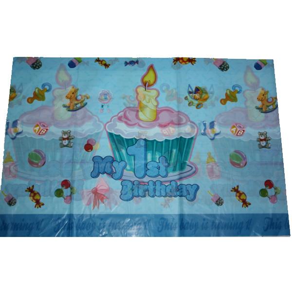 Party asztalterítő, 170*110, 1. születésnapom kék, muffinos